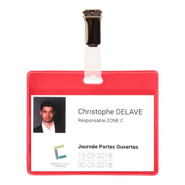 Visitor Name Badge KIT PVC red