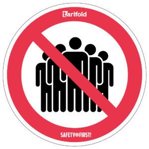 Tarifold Runder Aufkleber 'Gruppenbildung verboten'