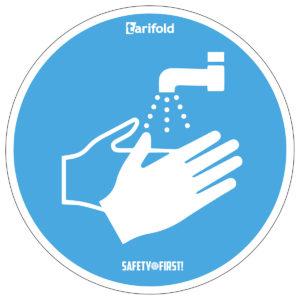 Tarifold Runder Aufkleber 'Hände waschen'