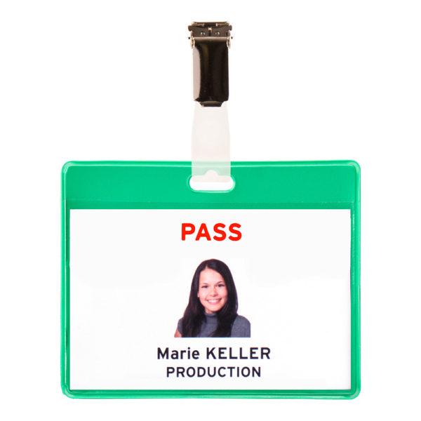 Visitor Name Badge KIT PVC green