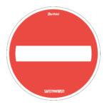 Anti-slip routing floor sticker 'No way through' - red-white - o-350-mm - 2 - netherlands
