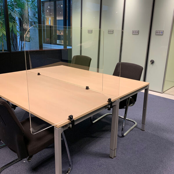 Transparent protective desk screens with clamps