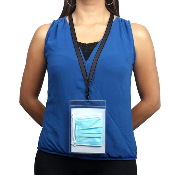 Antimicrobial mask & badge holders with lanyards