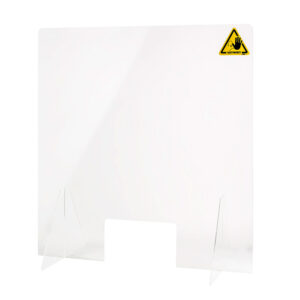 Counter top protective sanitary screen with document pass 250x150